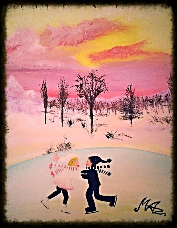 Painted Ice Skaters