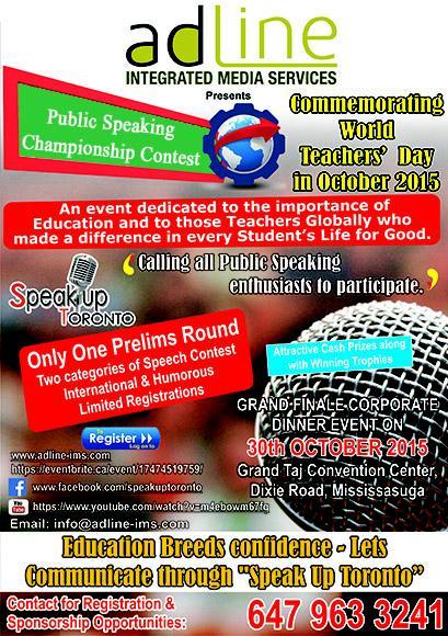 SPEAK UP TORONTO - PUBLIC SPEAKING CHAMPIONSHIP CONTEST
