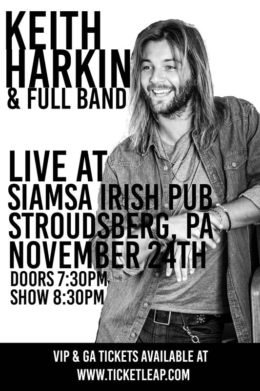 STROUDSBERGH PA~NOV 24th~THE KEITH HARKIN BAND~All Ages.