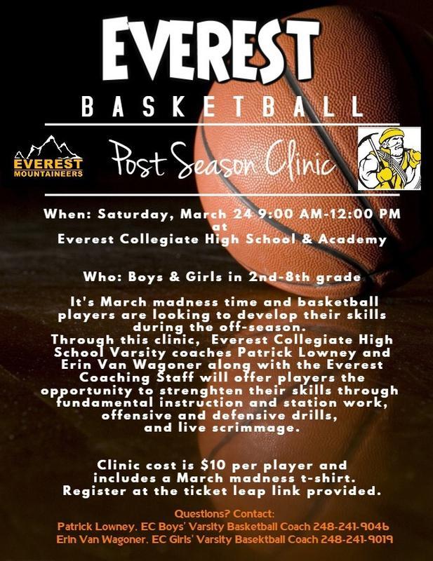 Everest Basketball- Post Season Clinic