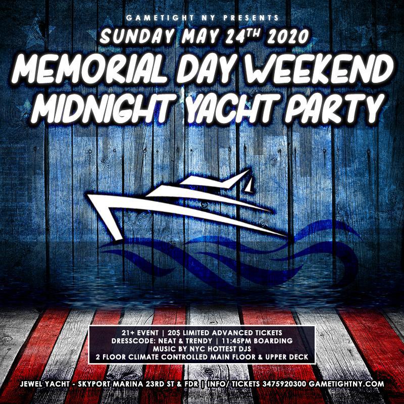NYC Memorial Day Sunday Yacht Party Cruise at Skyport Marina 2020