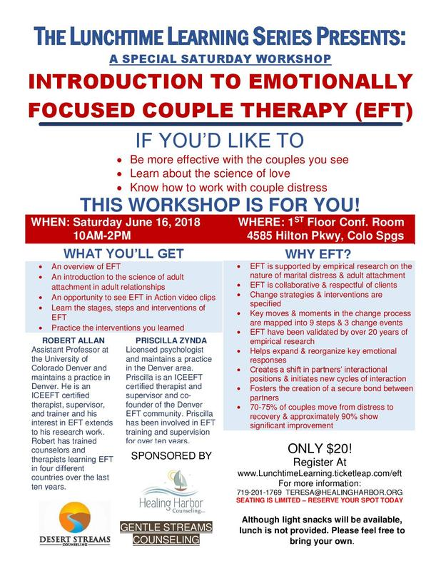 Lunchtime Learning-Intro to Emotionally Focused Couple Therapy