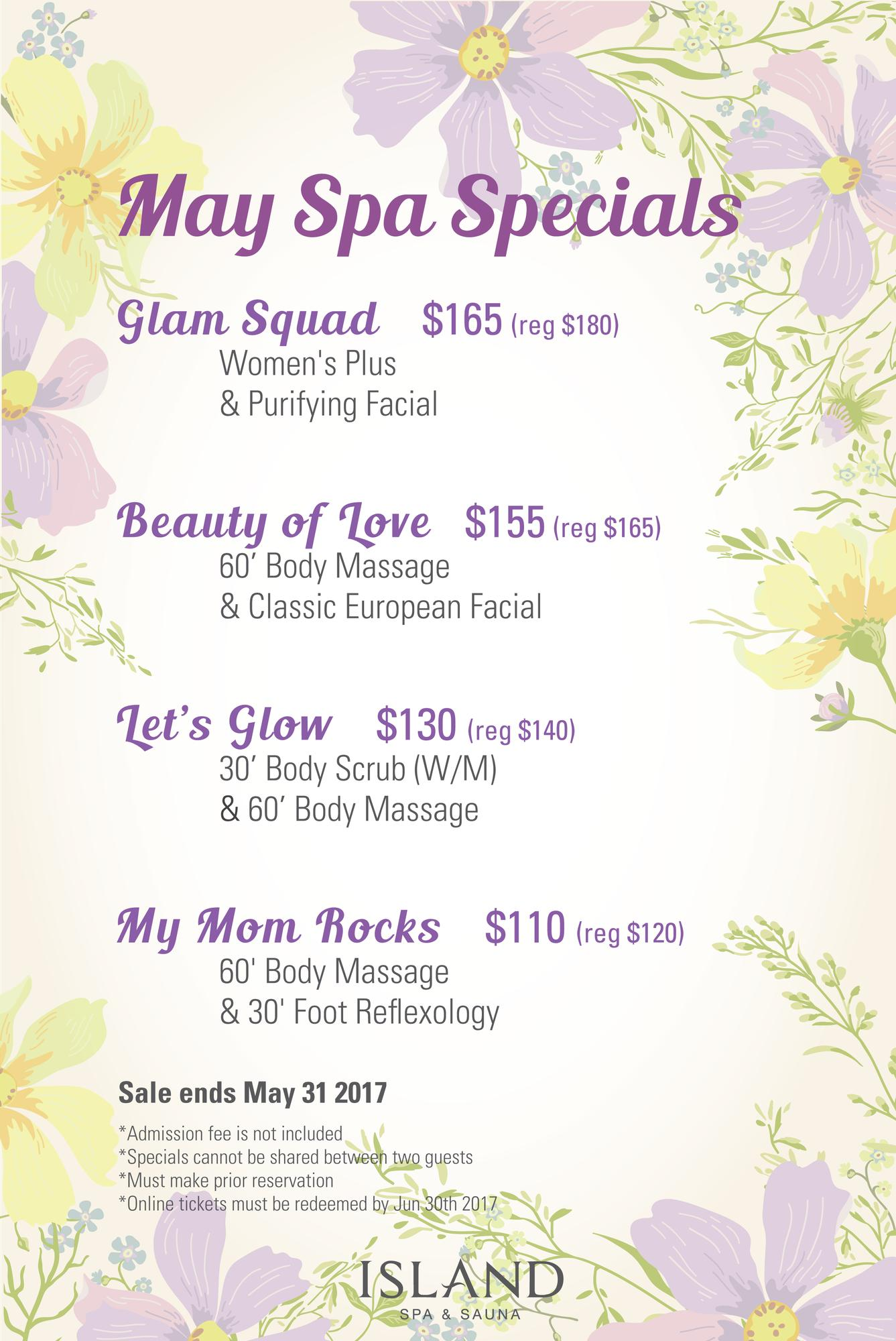 May mother 39 s day specials tickets in edison nj united states for 3 day spa