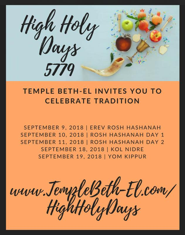High Holy Days ______________________________________at Temple Beth-El | 5779