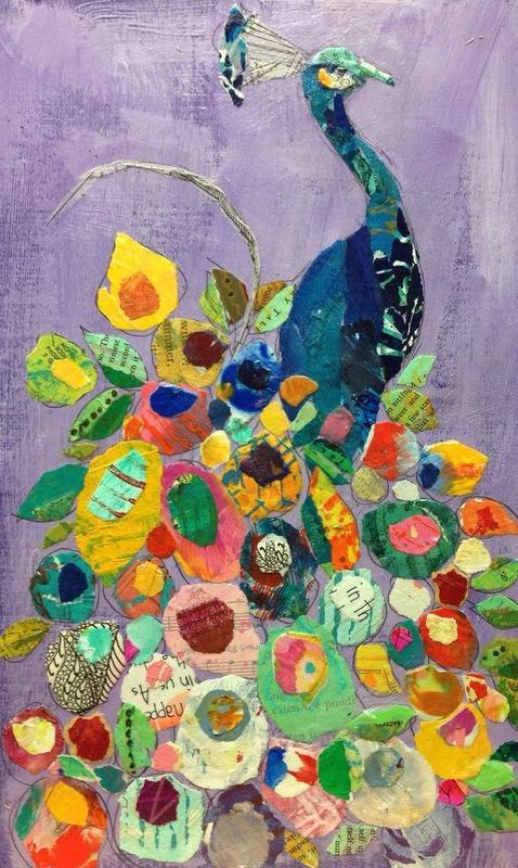 Kids *Live* Online Art Class - Peacock Collage