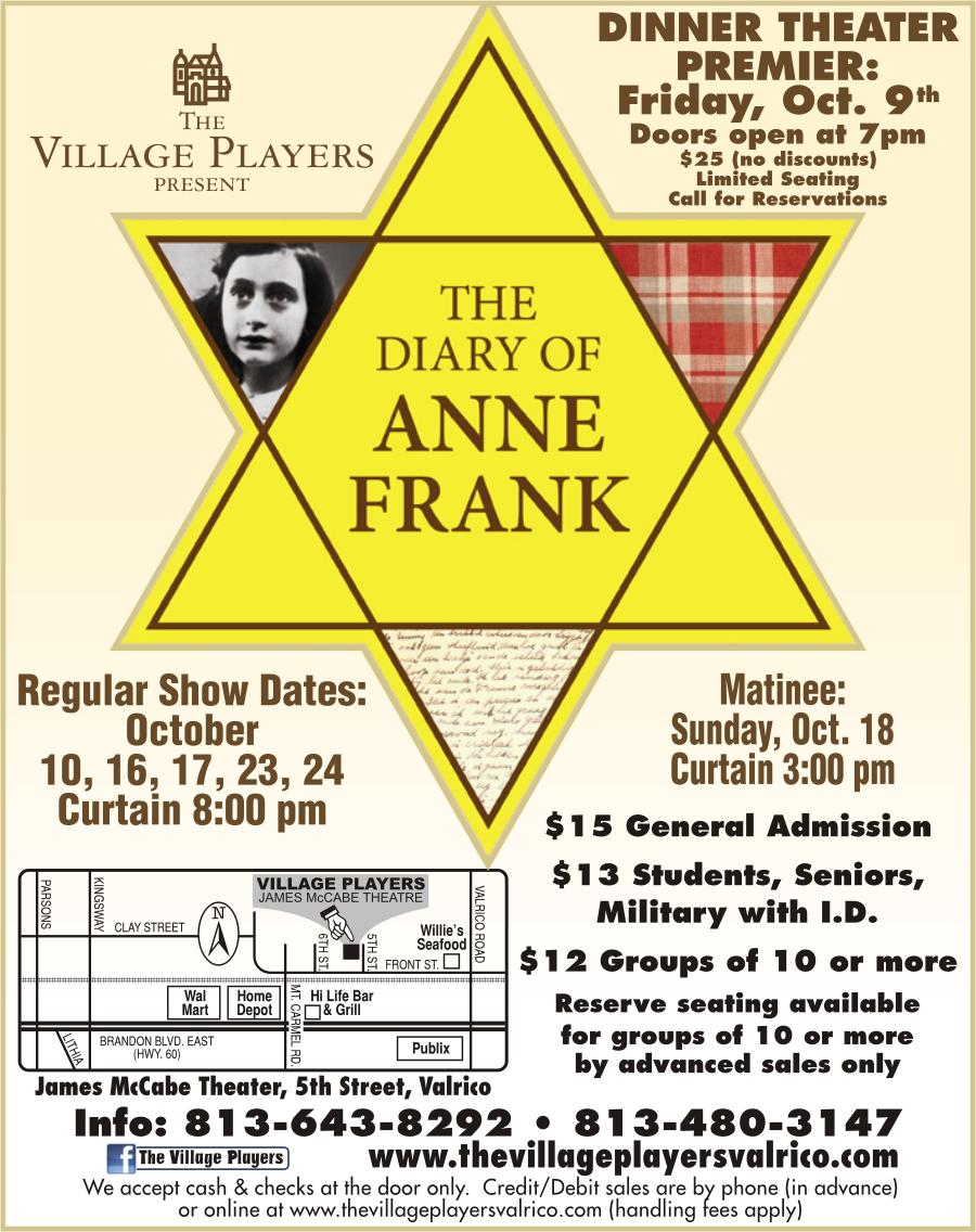 The Diary Of Anne Frank Tickets In Valrico Fl United States