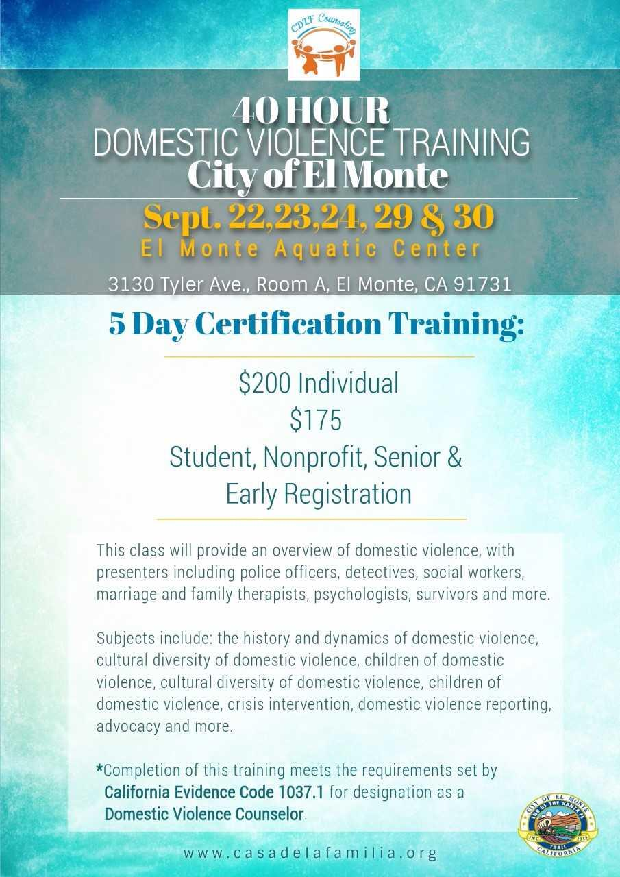 40 Hour Domestic Violence Training City Of El Monte Tickets In El