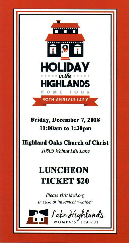 Lake Highlands Home Tour Luncheon 2018