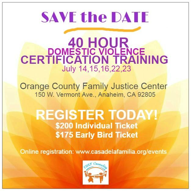 40 Hour Domestic Violence Training- OCFJC