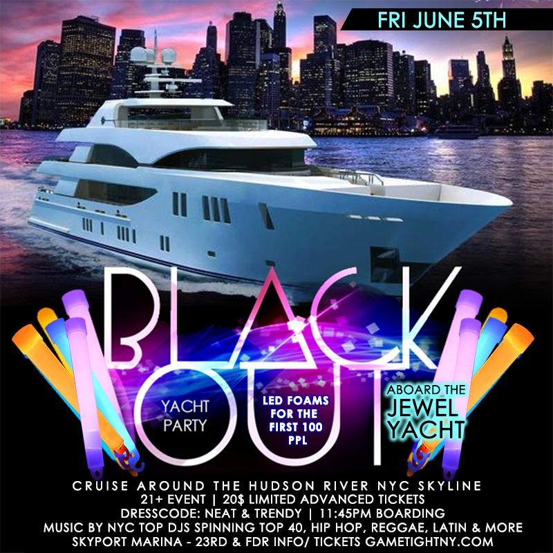 NYC Booze Cruise Glowsticks Yacht Party at Skyport Marina Jewel Yacht 2020