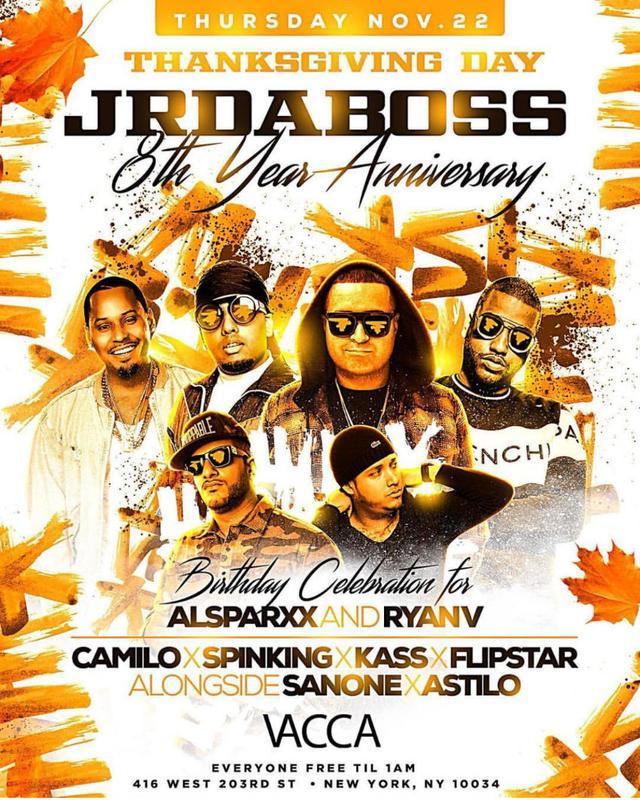 Thanksgiving Day JR Da Boss 8 Anniversary DJ Camilo Live At Vacca Lounge