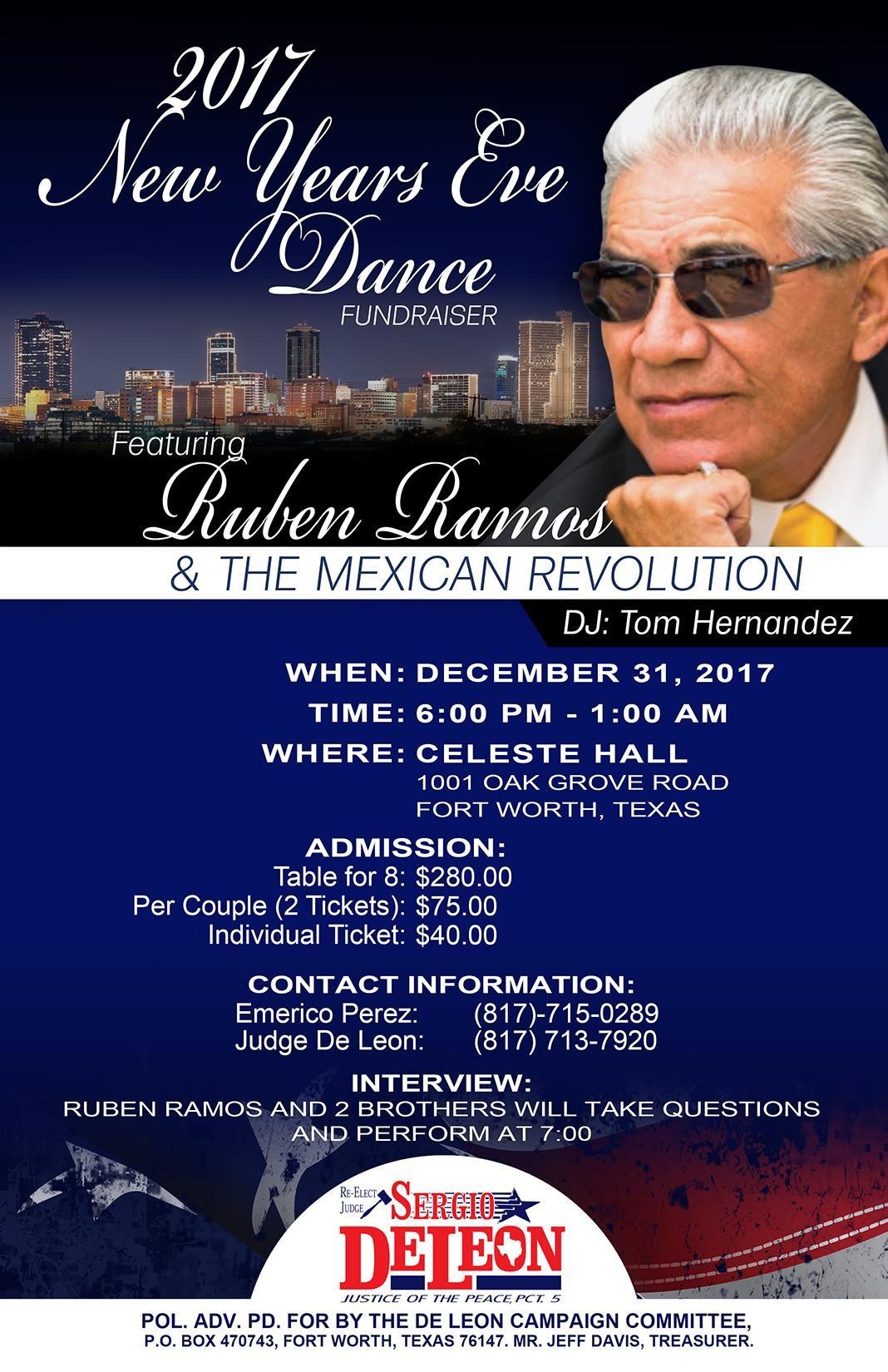 New Year's Eve Ruben Ramos Dance Fundraiser Tickets in Fort