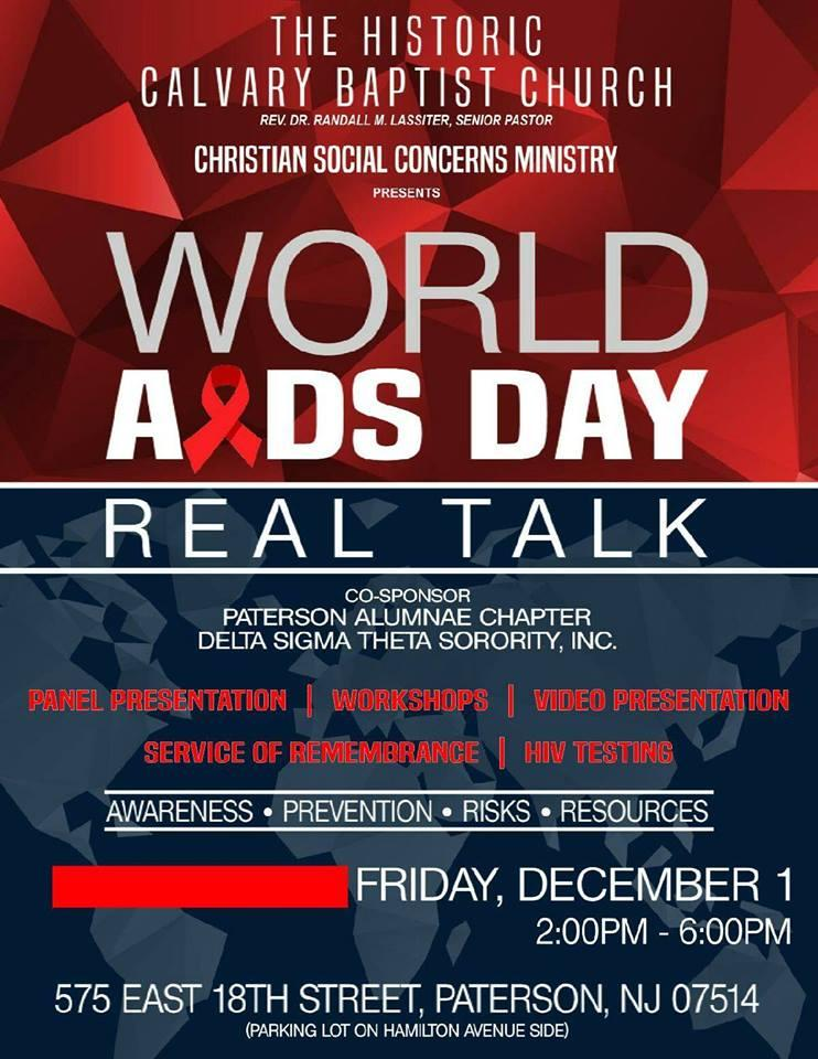 e3496fdb683 REAL TALK- World Aids Day Tickets in Paterson