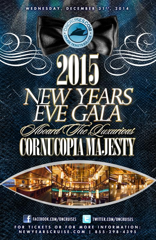 2015 New Year's Eve Gala Aboard the Luxurious Cornucopia Majesty Yacht