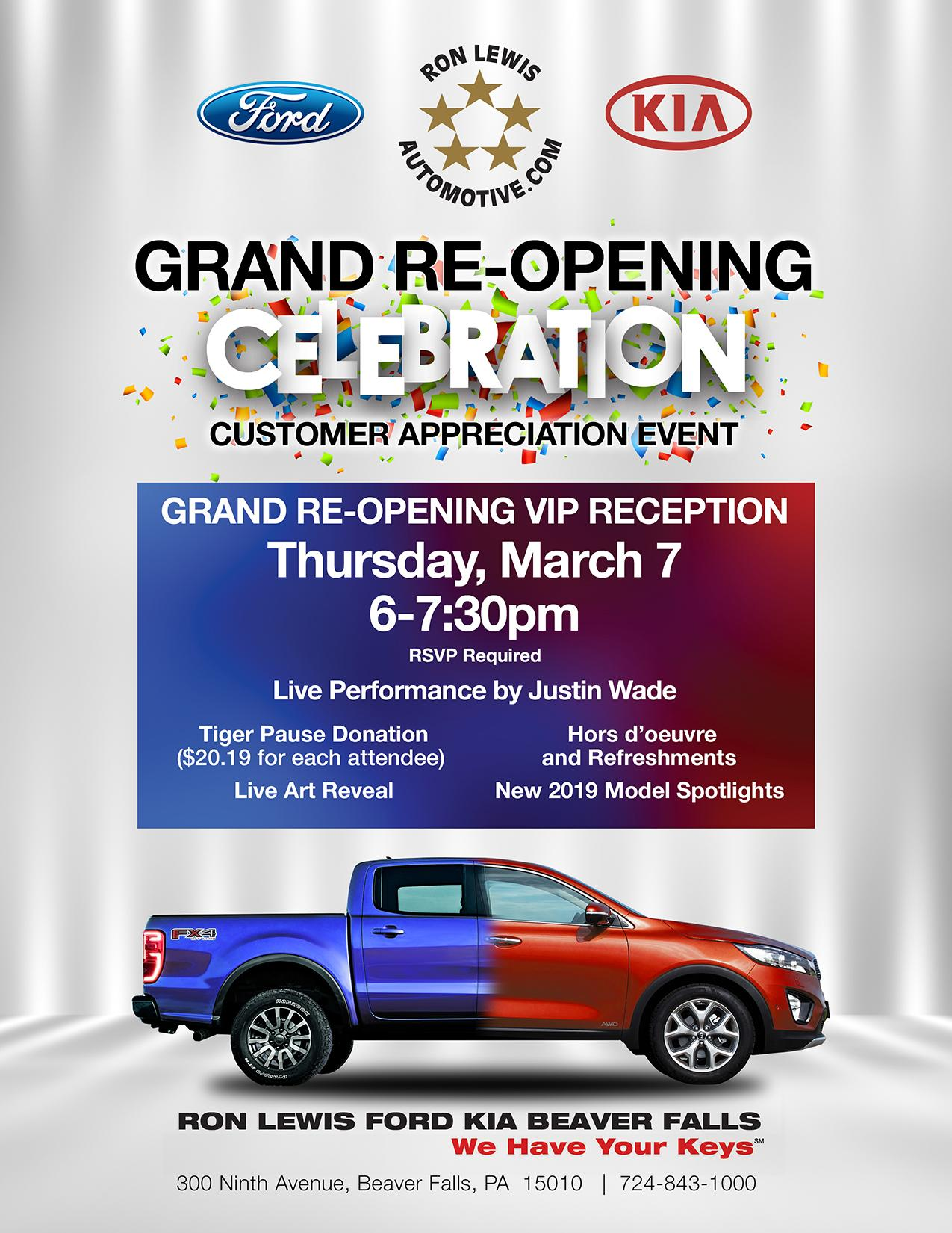 ron lewis ford kia beaver falls grand re opening event. Black Bedroom Furniture Sets. Home Design Ideas