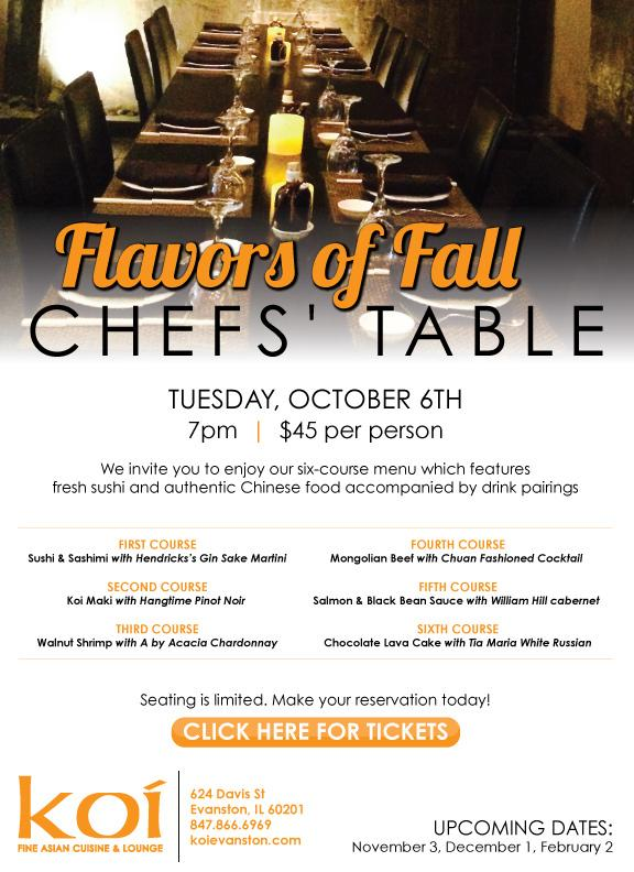 Koi Chefs' Table October 2015