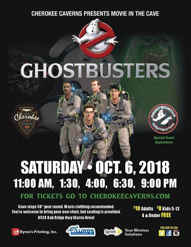 Cherokee Caverns Presents Movie in the Cave~Ghostbusters~