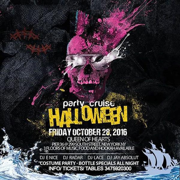NYC Boat Party Halloween Midnight Cruise at Queen of Hearts Pier 36