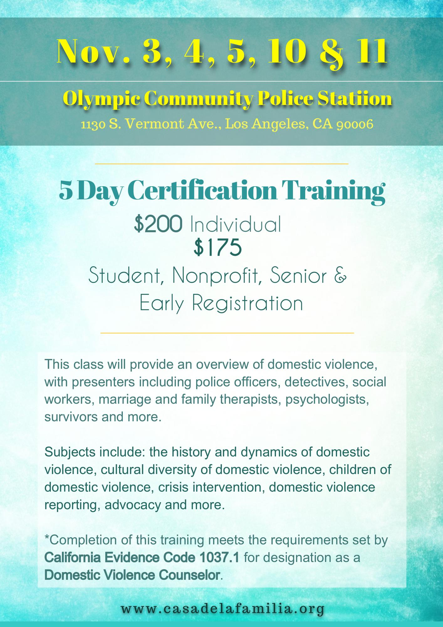 40 Hour Domestic Violence Training Los Angeles Tickets In Los