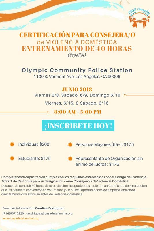 Certificación para Consejera/o Entrenamiento de 40-Horas contra Violencia Doméstica