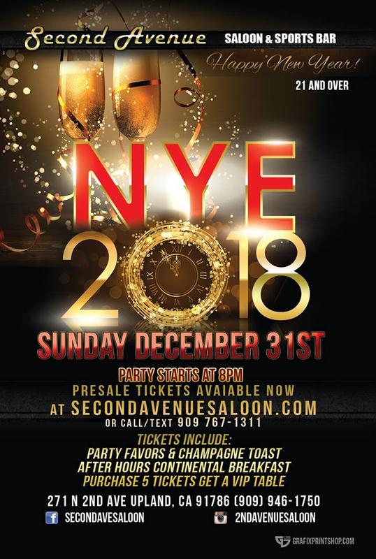 BRING IN 2018 AT 2ND AVENUE SALOON ANNUAL NEW YEARS EVE PARTY