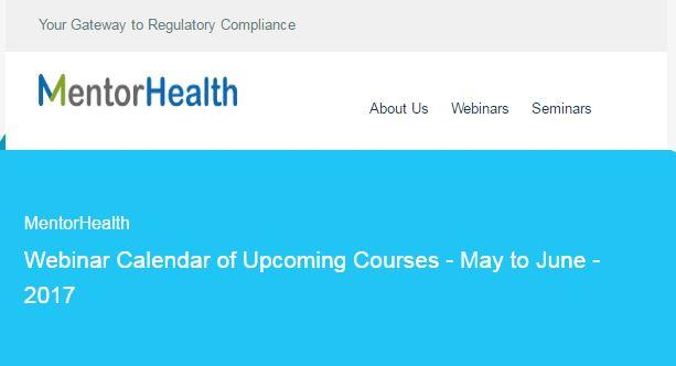 MentorHealth Webinar Calendar of Upcoming Courses