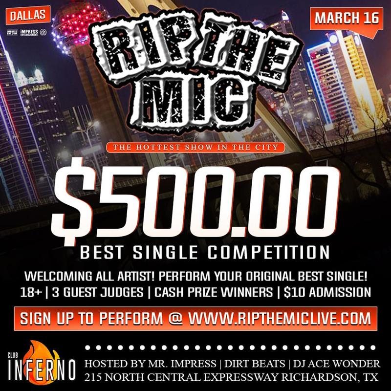 RIP THE MIC DALLAS $500 BEST SINGLE COMPETITION PERFORMANCE CONFIRMATION