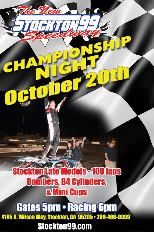 October 20, 2018 - CHAMPIONSHIP NIGHT - Stockton Late Models - 100 laps, Bombers, B4 Cylinders & Mini Cups
