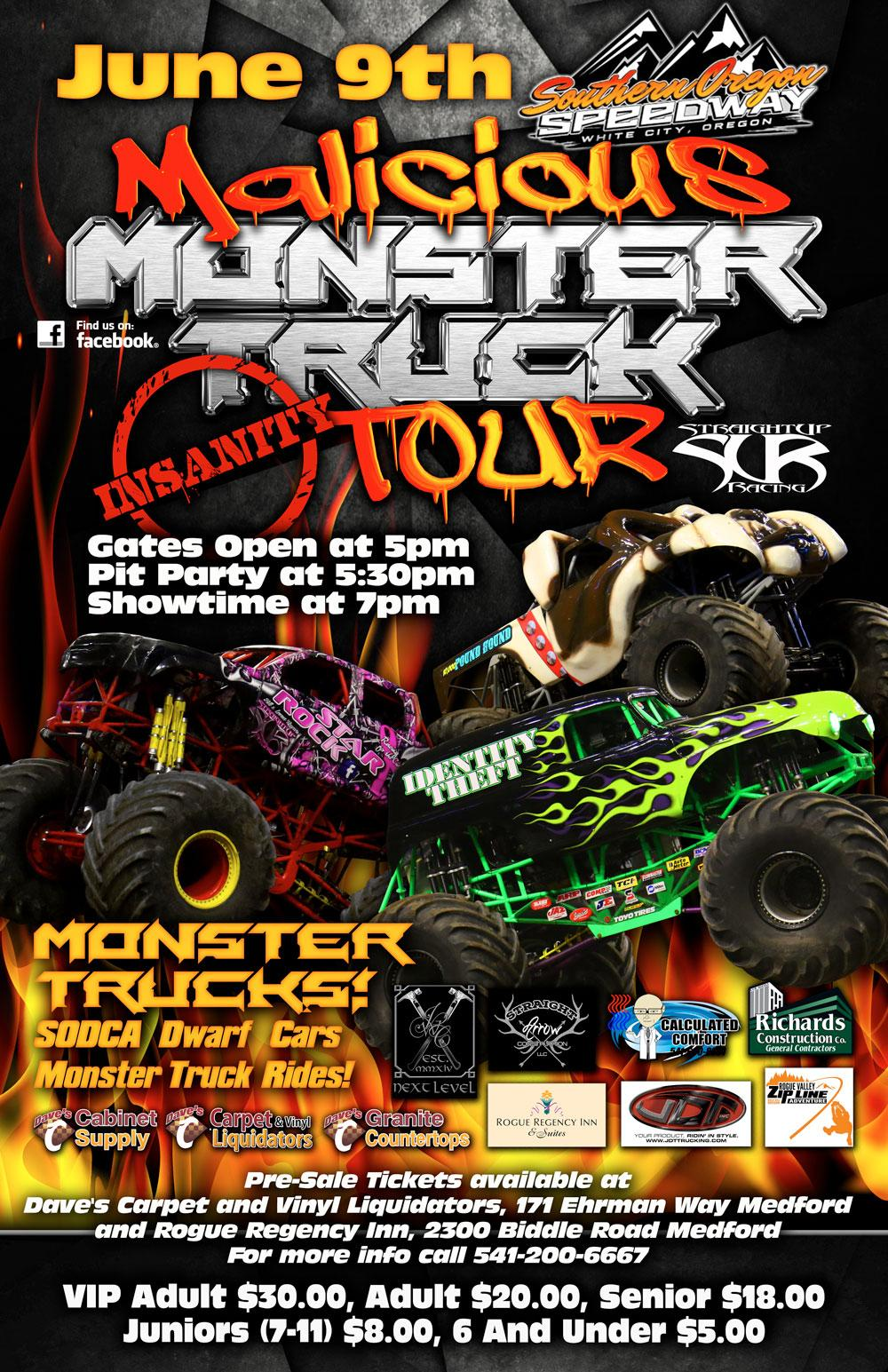 Malicious Monster Truck Tour at Southern Oregon Speedway Tickets in Central Point, OR, United States
