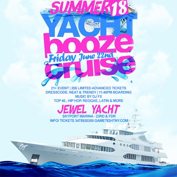 NYC Booze Cruise Yacht party at Skyport Marina Jewel Yacht