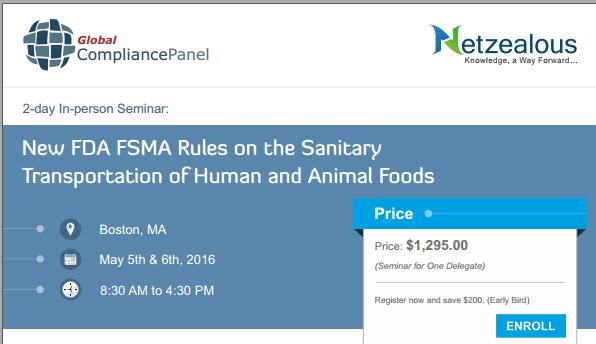 Seminar on New FDA FSMA Rules on the Sanitary Transportation of Human and Animal Foods