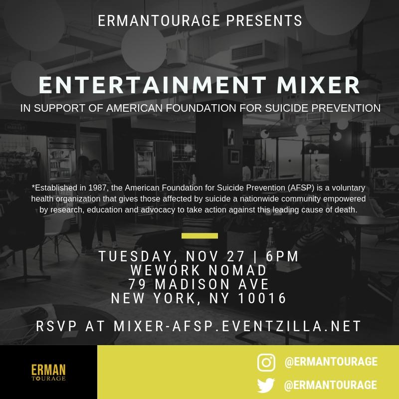 Entertainment Mixer to Benefit American Foundation for Suicide Prevention