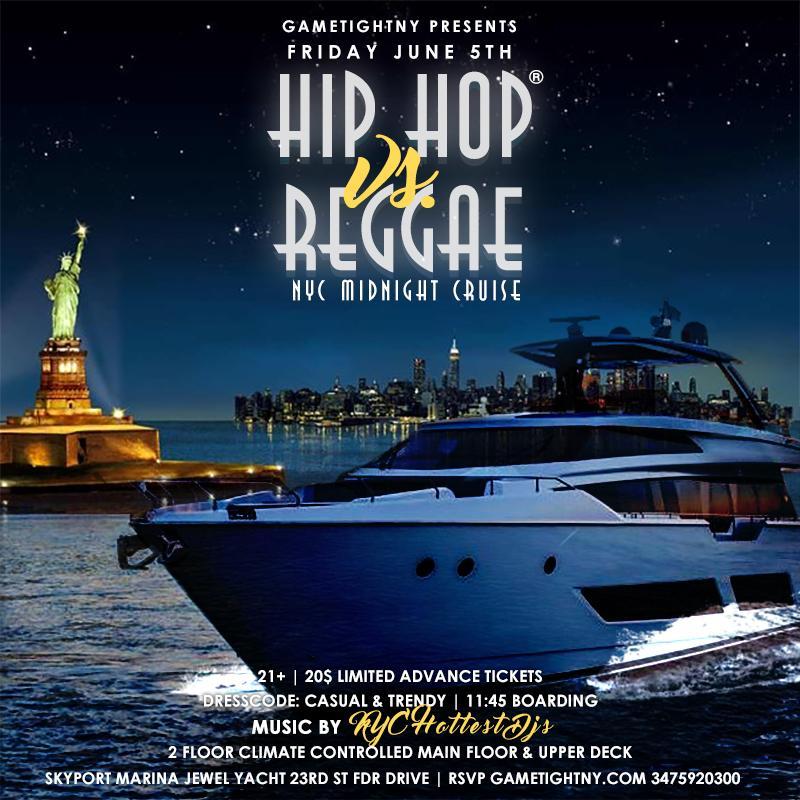 NYC Hip Hop vs. Reggae Midnight Yacht Party at Skyport Marina Jewel 2020