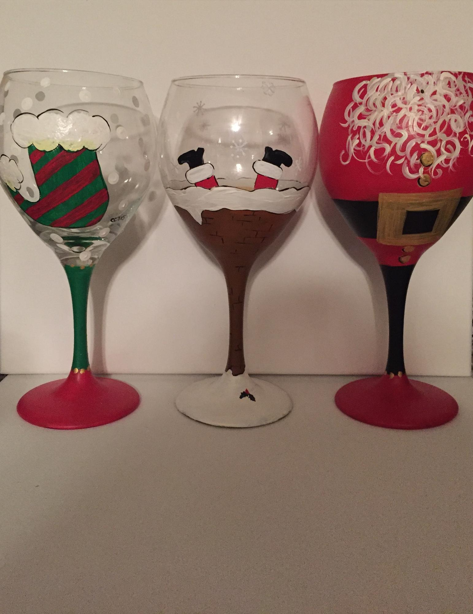 Christmas wine glass paint night tickets in bel air md for Christmas glass painting