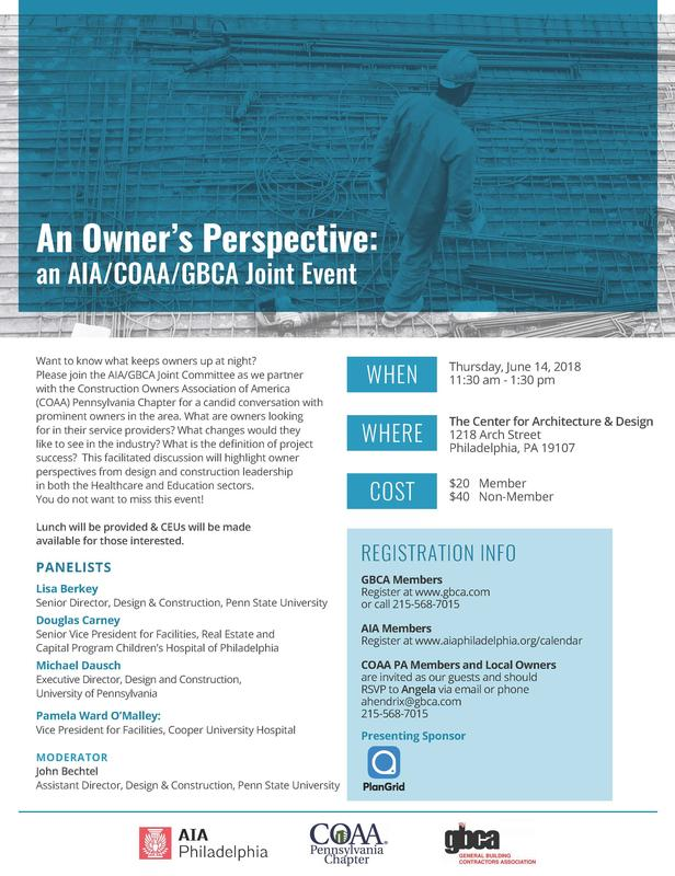 An Owner's Perspective: an AIA/COAA/GBCA Joint Event