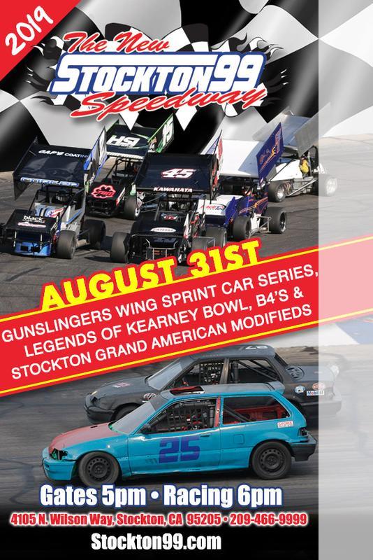 August 31st - Gunslingers Wing Sprint Car Series, Legends of Kearney Bowl, B4's & Stockton Grand American Modifieds