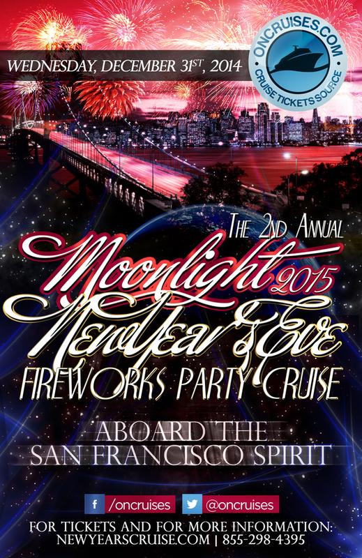 The 2nd Annual Moonlight NYE Fireworks Cruise Aboard the San Francisco Spirit Yacht-2015