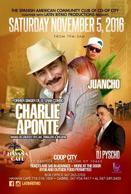 Charlie Aponte Live at Co-op City (Bronx, NY) | Nov 5th 7pm
