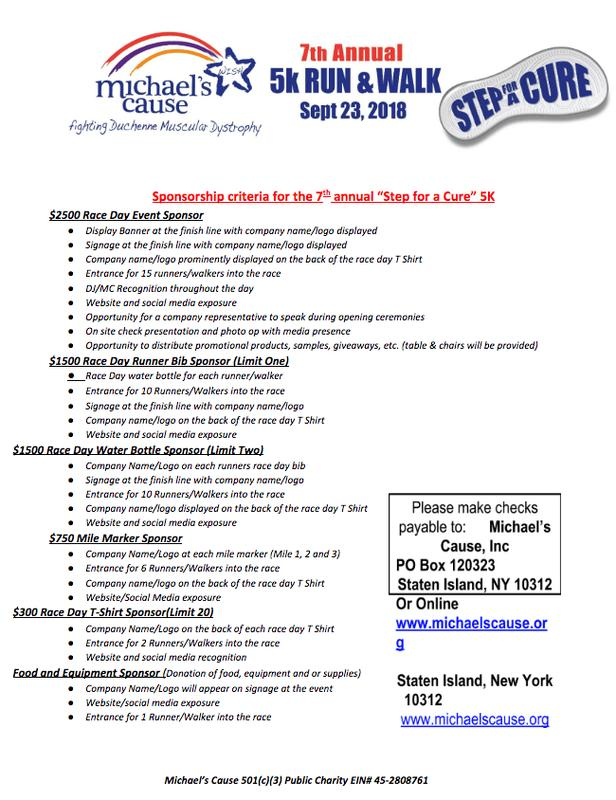 Michael's Cause 7th Annual Step for a Cure Sponsorship