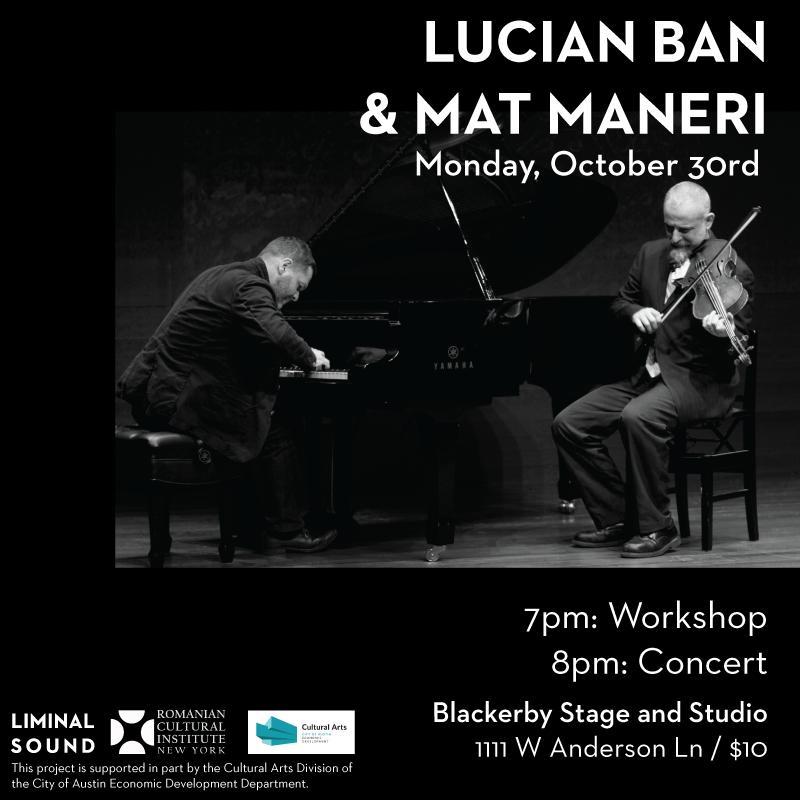 Lucian Ban Amp Mat Maneri Concert Amp Workshop Tickets In