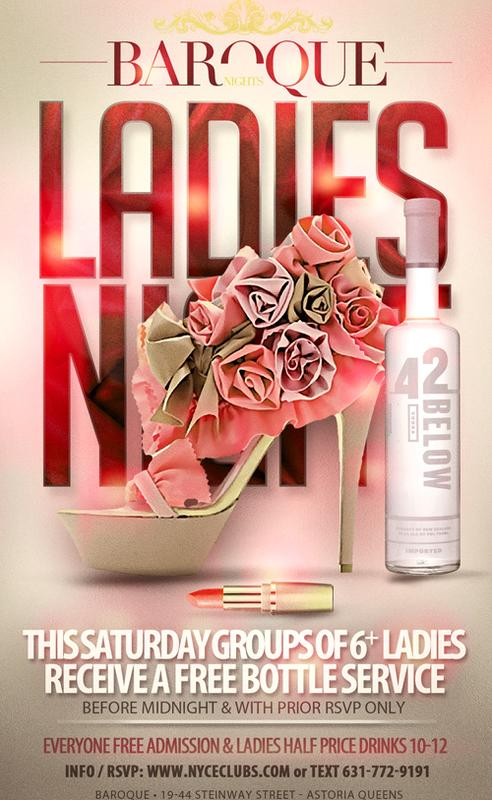 FREE BOTTLE SERVICE FOR GROUP OF 6 or MORE LADIES
