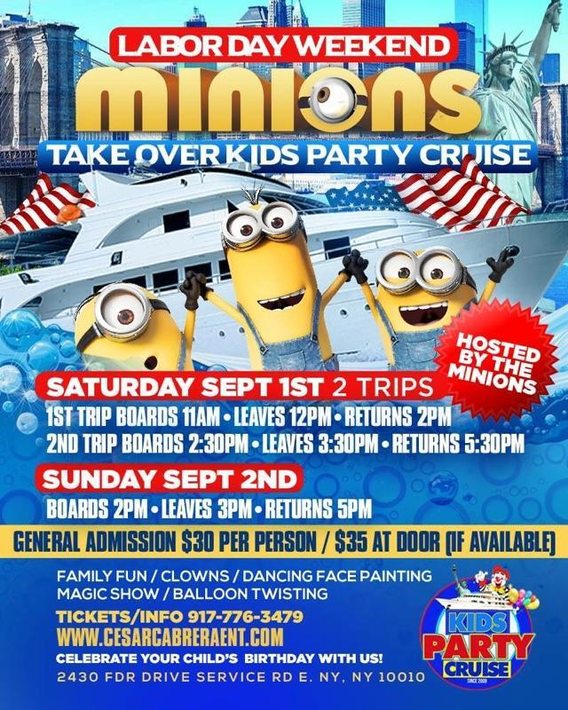 Labor Day Minions Kids Party Cruise