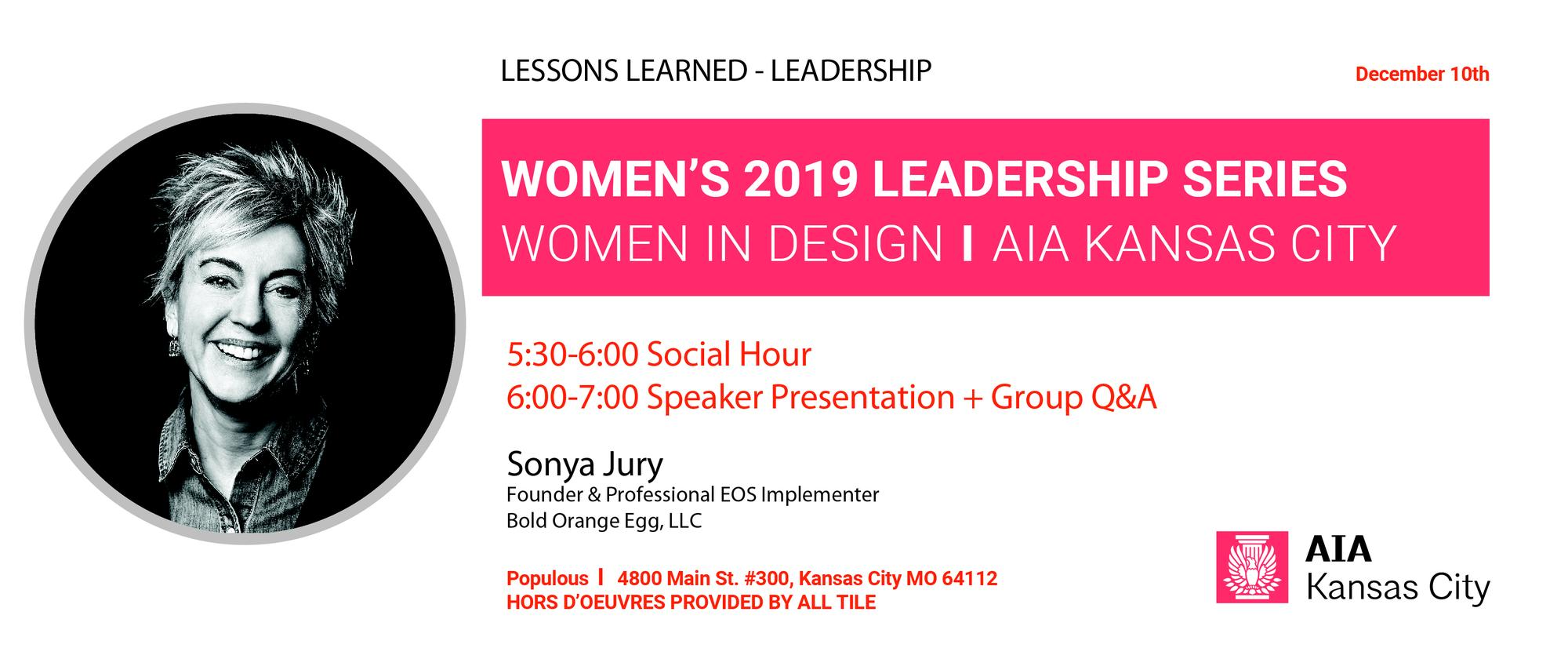 Women's Leadership Series: Sonya Jury, AIA