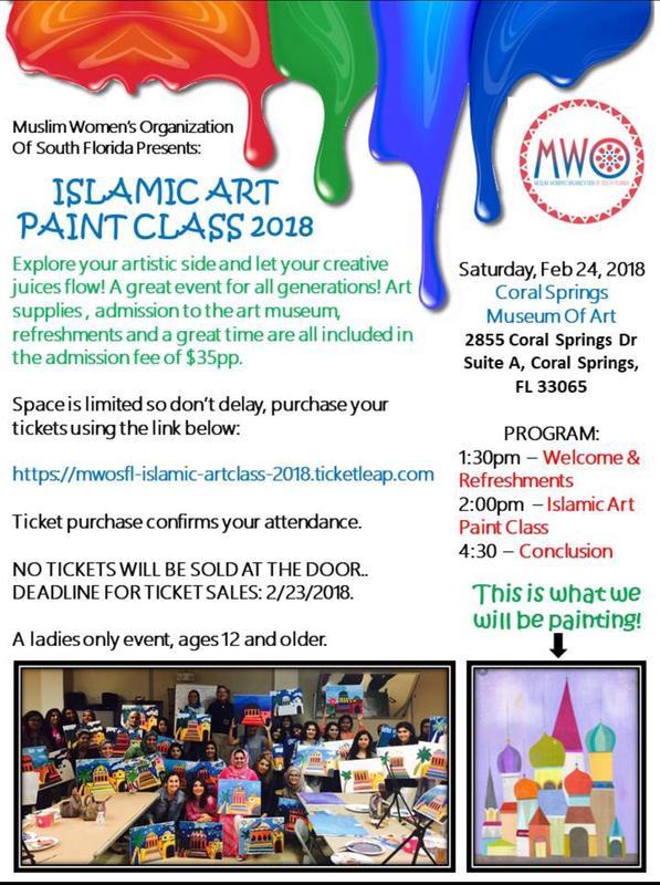 MWO of South FL presents ISLAMIC ART PAINT CLASS 2018
