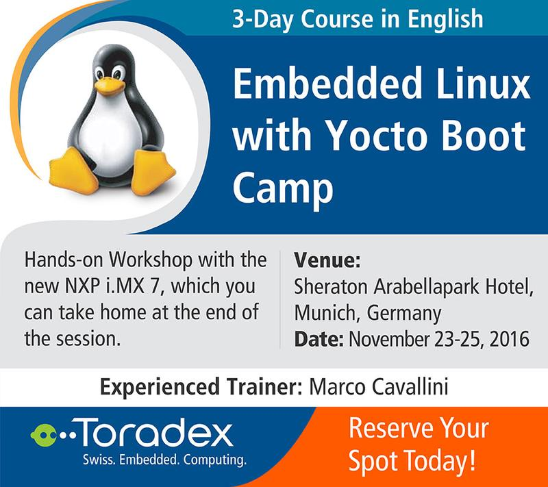 Embedded Linux with Yocto Boot Camp by Toradex - Munich, Germany