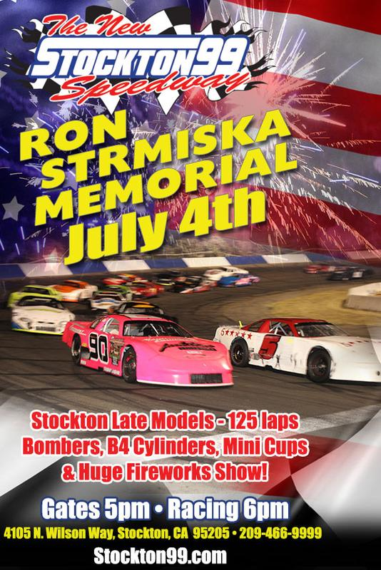 July 4, 2018 - RON STRMISKA MEMORIAL FIRECRACKER 125 - Stockton Late Models, Bombers, B4 Cylinders & Mini Cups