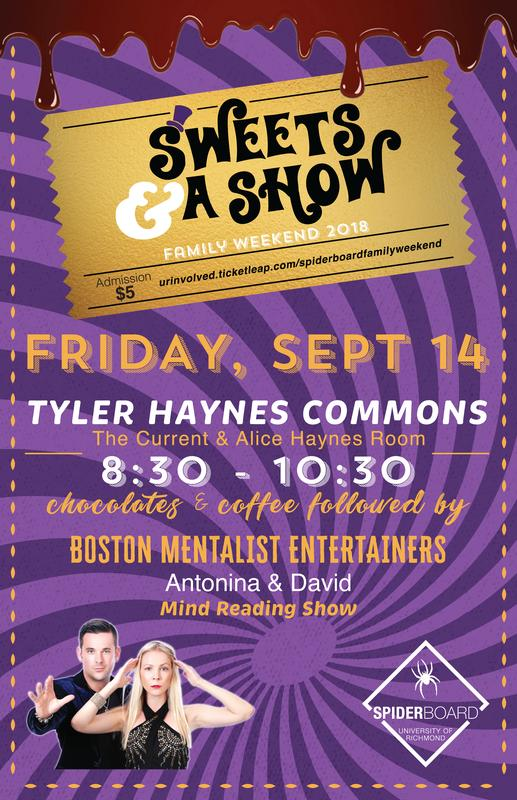 SpiderBoard Presents: Sweets & a Show w/ Mentalist Duo Antonina and David (Family Weekend '18)