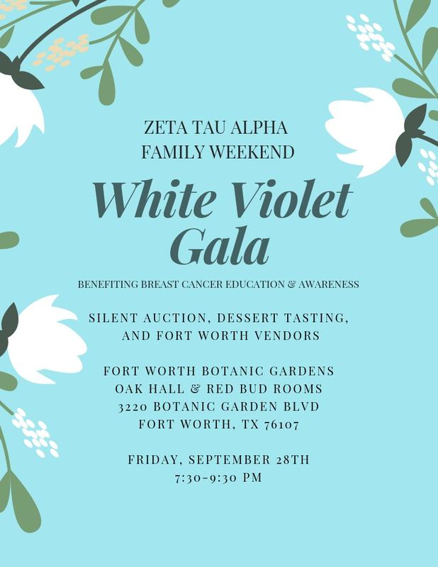 Zeta Tau Alpha White Violet Gala