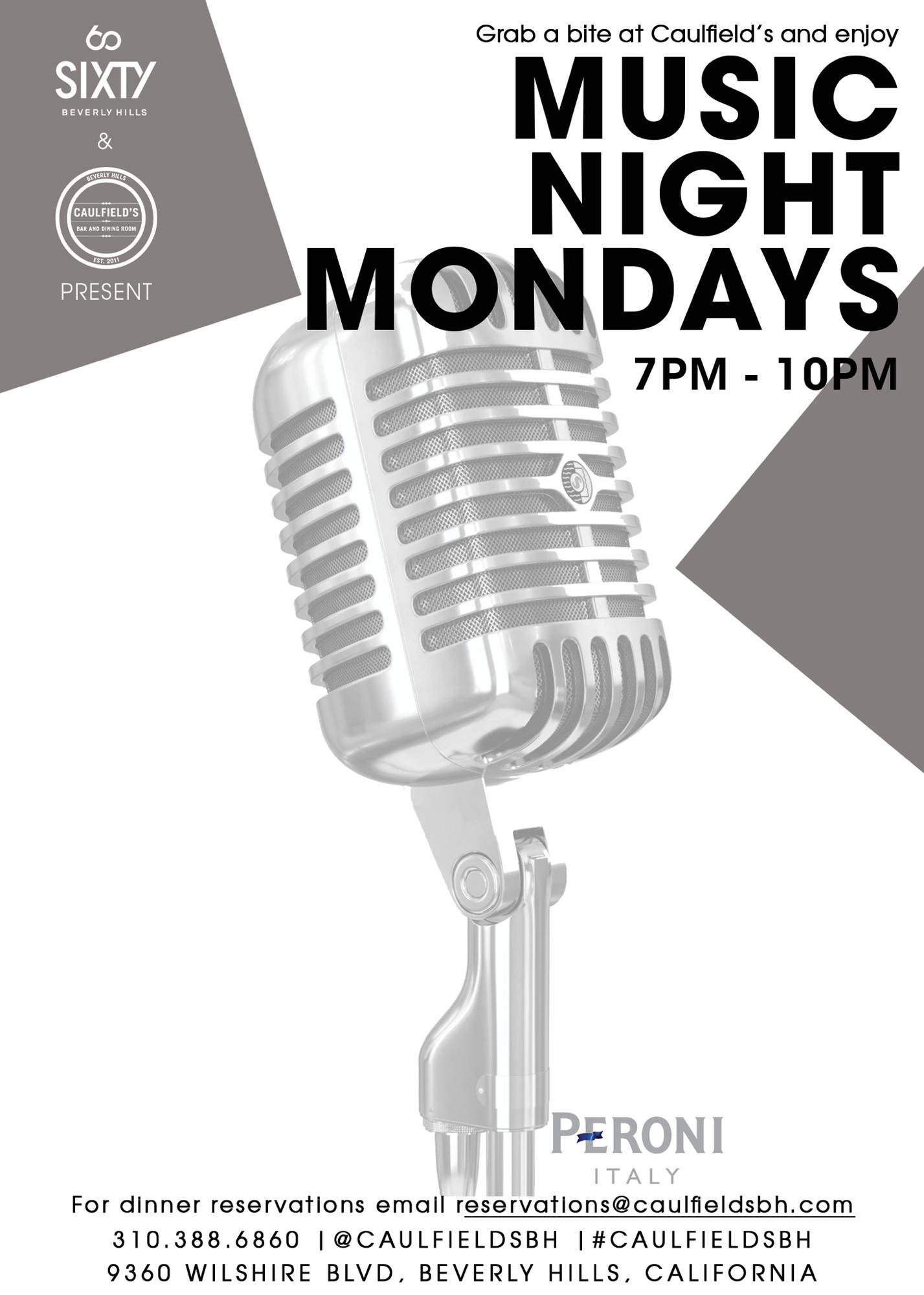 Music Night Mondays Tickets In Beverly Hills CA United States