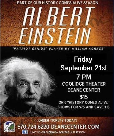 Albert Einstein Part of the Deane Center's 2018 History Comes Alive Season